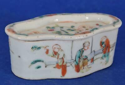 Antique Chinese Porcelain Soap Box Decorated in Famille Rose Enamels Wax Seal