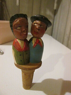 Vintage Hand Carved Wooden Figuring Couple Cork Puppet Type Unmarked