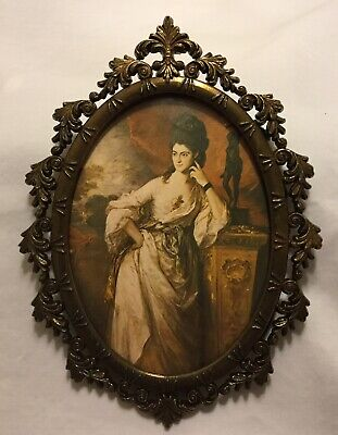 Victorian Lady in Curved Glass Gold Tone Metal Oval Picture Frame Vintage