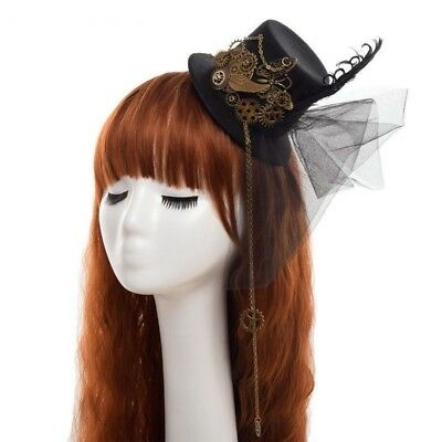 Steampunk Facinator Mini Top Hat Hair Slides Cogs Butterfly Chains/Feather