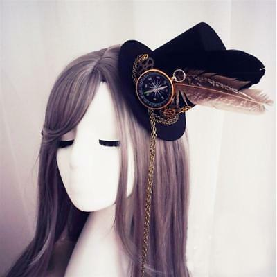 Steampunk Facinator Mini/Small Top Hat Hair Slides Cogs Compass Chains & Feather