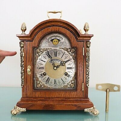 WARMINK WUBA Mantel Clock LARGE! Vintage Moonphase DOUBLE Bell Chime HIGH GLOSS!