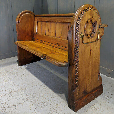 Unique & Exciting Antique 1876 Carved Pine Church Chapel Pews from St Clements,