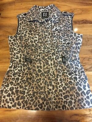 River Island Girls Leopard Print Denim Sleeveless Jacket Aged 9 years Old