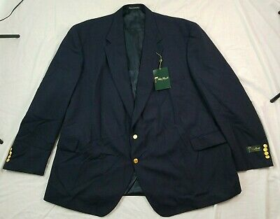Palm Beach Mens Blazer Navy Blue Gold Buttons 60 PL 60L Portly NWT NEW Wool