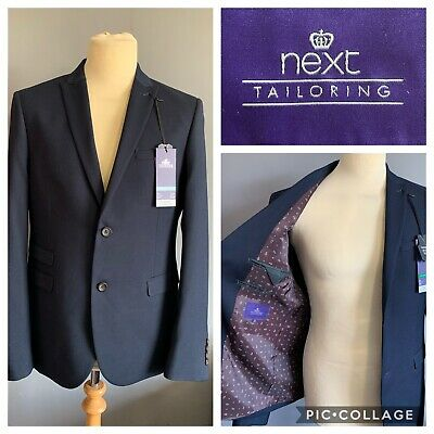 "Men's Next Navy Blue Suit Jacket Beautifully Tailored Size 42"" Skinny Fit - New"