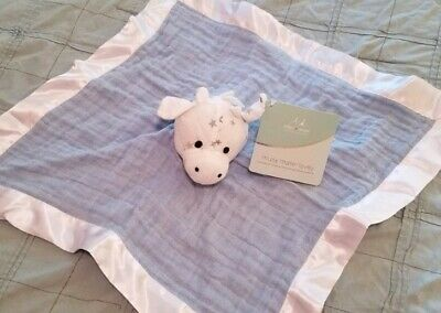 Aden Anais NWT blue white star Muslin Lovey Giraffe Security Blanket silky edges