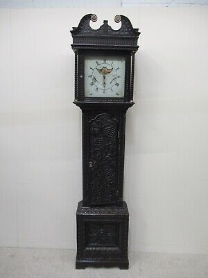 Antique Grandfather Clock Moon Roller Black Forest Type Carved Case