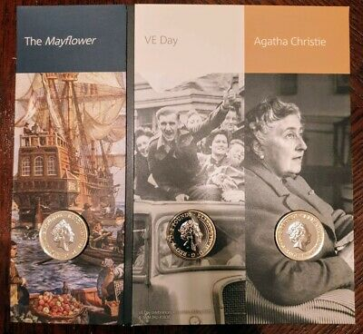 2020 Mayflower Agatha Christie and VE Day £2 2 Pounds BUNC Coins 01
