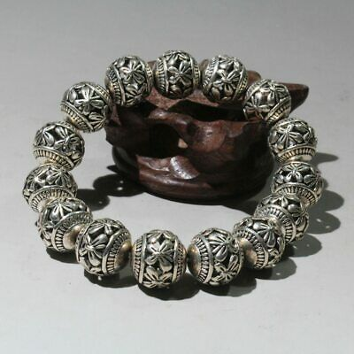 Collectable China Tibet Culture Miao Silver Hand-Carved Flower Decorate Bracelet