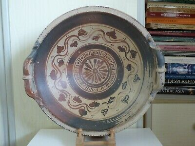 LARGE GREEK SOUTH ITALIAN DECORATED POTTERY BOWL (PATERA) 4th cent BC