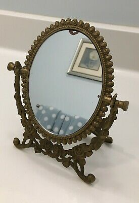 Antique Mirror Victorian Brass Bronze Ornate Flowers Old Ladies Tabletop Vanity