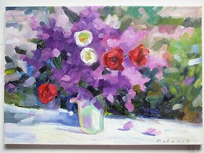 Original Oil Stretched Painting Lilac Tulip Flowers Palette Knife Art By Artist