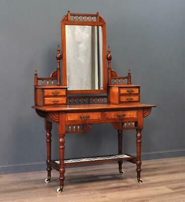 Attractive Antique Victorian Arts & Crafts Carved Burr Walnut Dressing Table