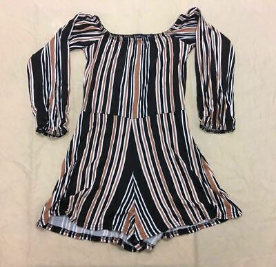 boohoo Women's Holly Stripe Off The Shoulder Jersey Playsuit Black DL7 US:4 NWT
