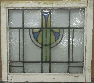 "MIDSIZE OLD ENGLISH LEADED STAINED GLASS WINDOW Gorgeous Geometric 24.5"" x 22"""