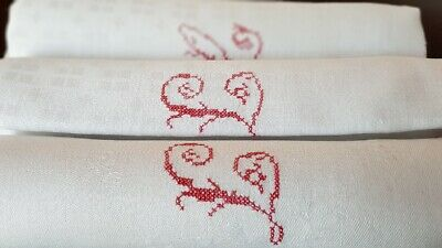 9 Antique French Pure Linen  napkins  hand monogrammed LC + tablecloth