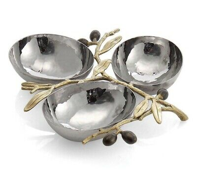 Vicky Yao-MICHAEL ARAMOlive Branch Gold Triple Compartment Dish Free Shipping