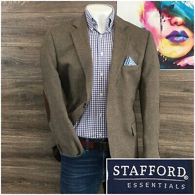 Stafford Sport Coat Mens Size 44R Elbow Patch Wool 2 Button Blazer Jacket