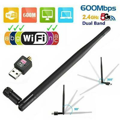 1200Mbps USB WiFi Dongle Adapter Wireless Network Dual Band 2.4G/5GHz w/ Antenna