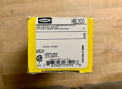 HUBBELL HBL2620 2P 3 Wire 30A 250V Receptacle Twist Lock L6-30R New In Box