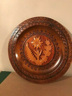 Eastern European Wooden Docorative Wall Plate - Made in Poland 1980
