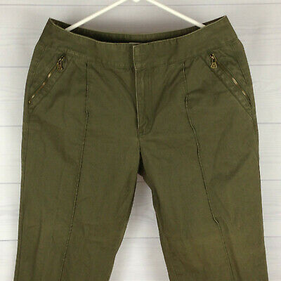 Liz Claiborne Petite Womens 10P Green Zip Pocket SOFT Crop Tapered Chino Pants