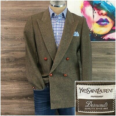 Vintage Yves Saint Laurent YSL Sport Coat Blazer Mens Double Breasted Jacket 38R