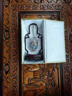 Vintage Chinese Glass Egg With Rosewood Stand Reverse Painted Original Box