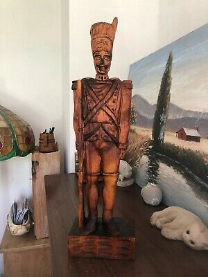 Beautiful Vintage Carved Wood Detailed Military Soldier Man Collectibles Carving