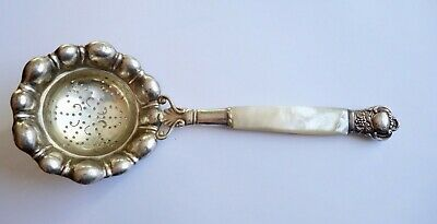 Antique Art Deco Sterling Silver Sugar Sifter Mother of Pearl by Cohr Denmark