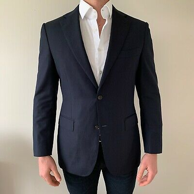 SUITSUPPLY Napoli Navy Blue Pinstripe Single Breasted Suit Jacket 40R SUPER 110s