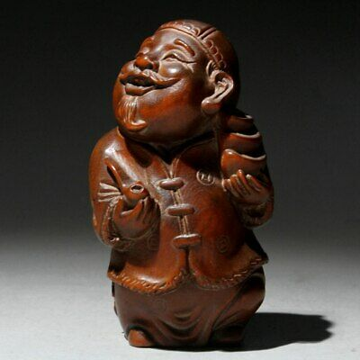 Collectable Chinese Old Boxwood Carve Landlord Bring Wealth Auspicious Statue