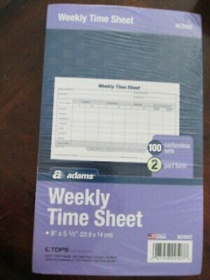 """Adams Weekly Time Sheet 9"""" X 5 1/2"""" 100 carbonless 2 part form"""