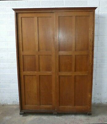 vintage oak arts and crafts, shaker, church, chapel vestry cupboard, c1890,s