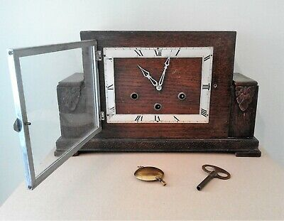 Vintage Ornate Art Deco Westminster Chime Mantel Clock with Key and Pendulum