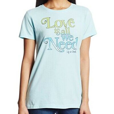 NWT~Life Is Good~Women's~LOVE IS ALL Creamy Tee~S/S~100%Cotton~Soft Blue~Sz L