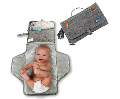 Portable Waterproof Diaper Changing Pad Cushioned Travel Storage Pockets Gray