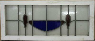 "OLD ENGLISH LEADED STAINED GLASS WINDOW TRANSOM Simple Sweep 33.5"" x 14.5"""