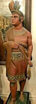 Antique 1870-1890 American Cigar Store Indian Trade Sign Display Figure Statue