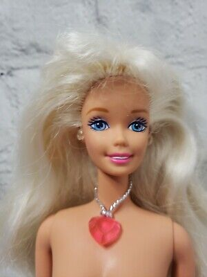 1997 Sweetheart Barbie Doll White Blonde Pink Heart Necklace Indonesia