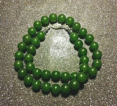 """17.5"""" SPINACH GREEN JADE NECKLACE Sterling Clasp. Very Large 10 mm HAND-KNOTTED"""