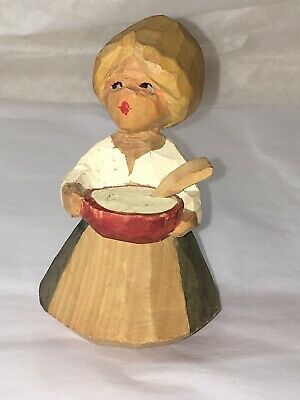 VTG Henning HAND Carved WOOD Woman With BOWL Norway NORWEGIAN Statue FIGURINE