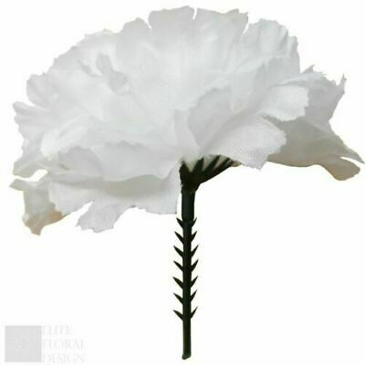 Box Of 144 Artificial Carnation Picks In White