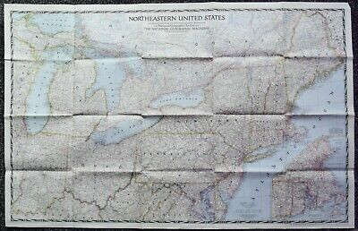 National Geographic Northeastern United States map Sept 1945 41 x 26 Inches