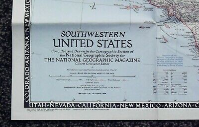 National Geographic SouthWestern United States map Dec 1948 34 x  23 Inches