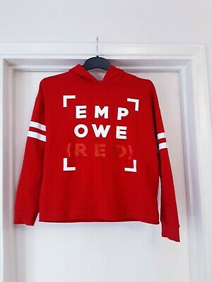 Cute Girls Tweens Red Cropped Hoodie Empowered Age 14-15 Excellent condition