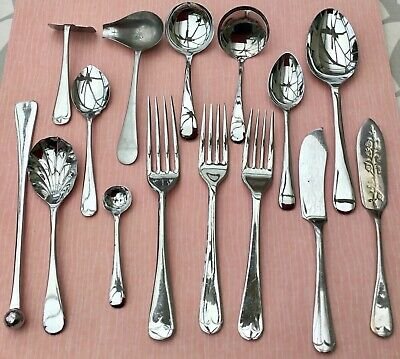 VINTAGE CUTLERY JOB LOT x15 - SPOONS FORKS ETC - OLD ENGLISH - CHROME PLATED