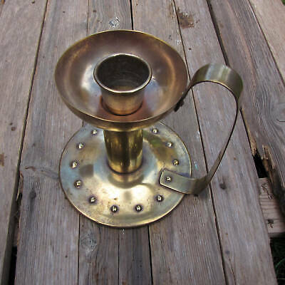 Antique Large Brass Chamberstick / Candlestick Holder