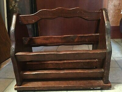 Vintage Wood Magazine Rack/ Book Newspaper File Storage Organizer
